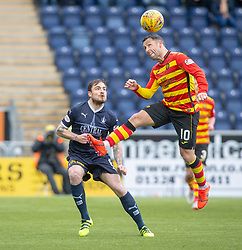 Partick Thistle's Scott McDonald over Falkirk's Paul Paton. Falkirk 1 v 1 Partick Thistle, Scottish Championship game played 16/3/2019 at The Falkirk Stadium.