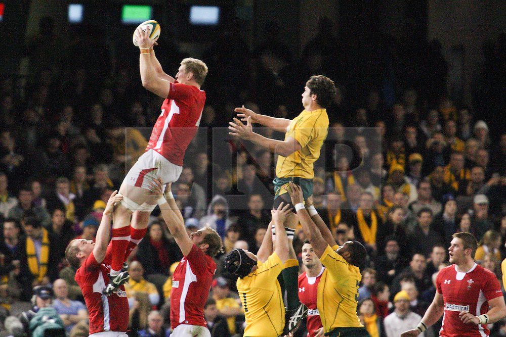 © Licensed to London News Pictures. 16/06/2012. Etihad Stadium, Melbourne Australia. A Welsh player gets raised up at the line out during the 2nd Rugby Test between Australia Wallabies Vs Wales . Photo credit : Asanka Brendon Ratnayake/LNP