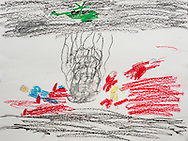 """""""A big bomb falls from a plane. All the people died and their bodies are in pieces."""" Drawing by Syrian girl, age 13. (Topic for this session: dealing with loss.)"""