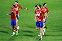 Spain's Jonathan Viera, Iago Aspas, Aritz Aduriz, Gerard Pique and Pedro Rodriguez during training session. October 5,2017.(ALTERPHOTOS/Acero)