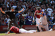 Oct 3, 2010; Houston, TX, USA; Houston Astros infielder Brett Wallace (29) slides safely into third in fourth inning against Chicago cubs  at Minute Maid Park.  The Astros defeated the Cubs 4-0. Mandatory Credit: Soobum Im-US PRESSWIRE