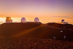 Subaru Telescope, W. M. Keck Observatory, NASA Infrared Telescope Facility or IRTF, and Haleakala of Maui at distance, Mauna Kea Observatories, Big Island, Hawaii