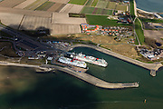 Nederland, Noord-Holland, Texel, 16-04-2012; 't Horntje, de veerboot Dokter Wagemaker van TESO verlaat de veerhaven. The ferry to the mainland is leaving the isle of Texel..luchtfoto (toeslag), aerial photo (additional fee required);.copyright foto/photo Siebe Swar