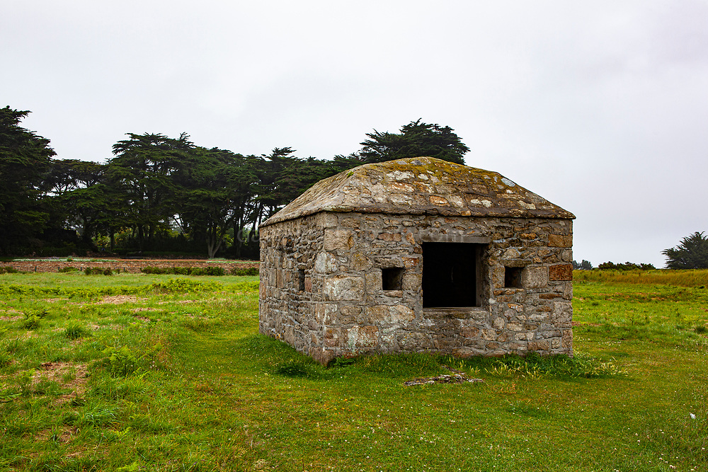 Poudriere - powder store at La batterie du C'hleguer, Ile de Batz, Brittany, France. Coastal defenses in the wars against England, constructed in 1710, but which went out of use in