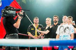 Dejan Zavec alias Jan Zaveck of Slovenia (Red) listening to the national anthemn prior to the fight against Sasha Yengoyan (Blue) of Belgium at Fight for World WBF Champion during First Class Boxing event, on April 11, 2015 in Arena Tabor, Maribor, Slovenia. Photo by Vid Ponikvar / Sportida