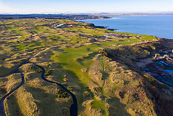 Aerial view of The Castle Course golf links outside St Andrews in Fife, Scotland, UK