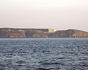 Island of Brecqhou showing large mansion house built by the Barclay brothers, Channel Islands, Great Britain