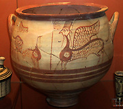 Pottery krater (bowl) decorated in Cypriot Rude or Pastoral Style with winged sphinxes. Made in Cyprus 1225-1200 BC,