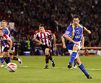 Photo: Paul Greenwood.<br />Sheffield United v Cardiff City. Coca Cola Championship. 02/10/2007.<br />Cardiff's Robbie Fowler scores from the spot