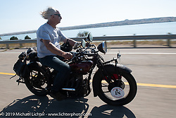 Doug Feinsod riding his Indian in the Motorcycle Cannonball coast to coast vintage run. Stage 8 (314 miles) from Spirit Lake, IA to Pierre, SD. Saturday September 15, 2018. Photography ©2018 Michael Lichter.