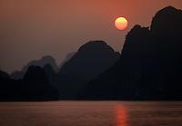 HA LONG BAY, VIETNAM - CIRCA SEPTEMBER 2014:  Sunset in Halong Bay, Vietnam