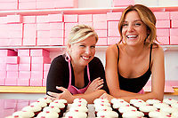 """7/8/2010 -- Washington, DC  --  Sophie LaMontagne (left) and Katherine Kallinis, owners of the bakery Georgetown Cupcakes, photographed prior to their new show on TLC, """"DC Cupcakes,"""" premiering on July 16, 2010.  --    Photo by Jack Gruber, USA TODAY"""
