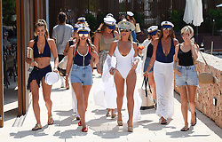 EXCLUSIVE: Billie Faiers seen with her hen do guests in Ibiza. Billie was joined by sister Sam and fellow TOWIE star Ferne McCann, Billie was seen wearing a flashy sailors hat whilst her hens were all dressed in a nautical theme. 24 Aug 2018 Pictured: Billie Faiers, Sam Faiers and Ferne McCann. Photo credit: MEGA TheMegaAgency.com +1 888 505 6342