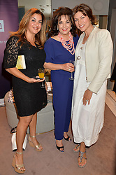 Left to right, PAULA MANSOUR, BARIA ALAMUDDIN (Amal Clooney's mother) and KATE SILVERTON at a party to celebrate the paperback lauch of The Stylist by Rosie Nixon hosted by Donna Ida at her store at 106 Draycott Avenue, London on 17th August 2016.