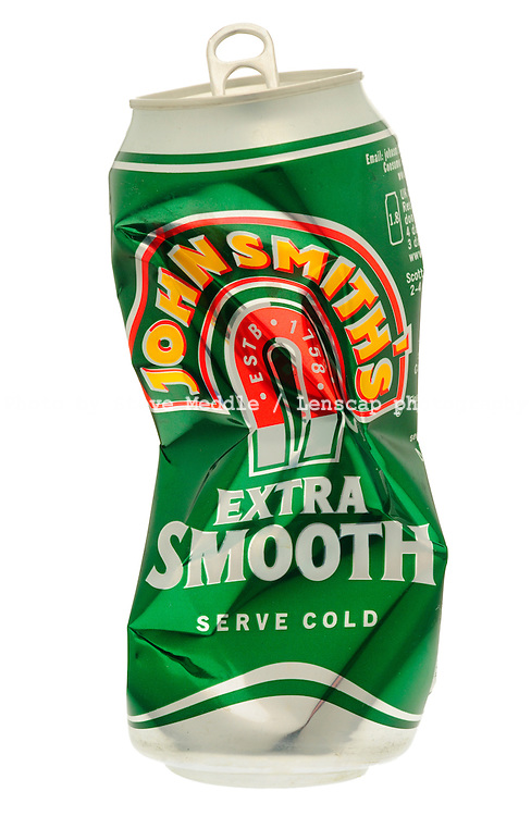 Crushed Can of John Smiths Extra Smooth Bitter