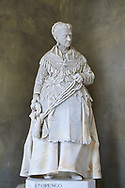"""Picture and image of the stone sculptured  funeral monument of Caterina Campodonico, also called """"The Peanuts Seller"""" carrying a string of peanuts and donuts that she sold on the streets of Genoa. Completed while she was still alve by sculptor Lorenzo Orengo, who was the most important artist of the Bourgeois Realism, greatly sought after by the member of the middle class. The Staglieno Monumental Cemetery, Genoa, Italy .<br /> <br /> Visit our ITALY PHOTO COLLECTION for more   photos of Italy to download or buy as prints https://funkystock.photoshelter.com/gallery-collection/2b-Pictures-Images-of-Italy-Photos-of-Italian-Historic-Landmark-Sites/C0000qxA2zGFjd_k<br /> If you prefer to buy from our ALAMY PHOTO LIBRARY  Collection visit : https://www.alamy.com/portfolio/paul-williams-funkystock/camposanto-di-staglieno-cemetery-genoa.html"""