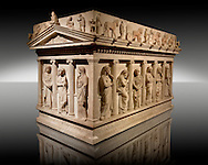 Sarcophagus of The Mourning Women, 4th cent. B.C Greek from the Royal Necropolis of Sidon , Chamber no I, Lebanon, Istanbul Archaeological Museum Inv. 386T  Cat. Mendel 10..<br /> <br /> If you prefer to buy from our ALAMY STOCK LIBRARY page at https://www.alamy.com/portfolio/paul-williams-funkystock/greco-roman-sculptures.html- Type -    Istanbul    - into LOWER SEARCH WITHIN GALLERY box - Refine search by adding a subject, place, background colour, museum etc.<br /> <br /> Visit our CLASSICAL WORLD HISTORIC SITES PHOTO COLLECTIONS for more photos to download or buy as wall art prints https://funkystock.photoshelter.com/gallery-collection/The-Romans-Art-Artefacts-Antiquities-Historic-Sites-Pictures-Images/C0000r2uLJJo9_s0c
