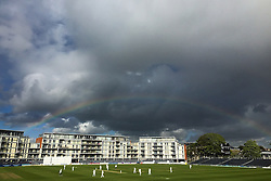 General View as a rainbow forms over the Bristol County ground during Gloucestershires first innings - Photo mandatory by-line: Rogan Thomson/JMP - 07966 386802 - 18/05/2015 - SPORT - CRICKET - Bristol, England - Bristol County Ground - Gloucestershire v Kent - Day 1 - LV= County Championship Division Two.