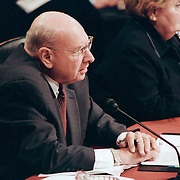 """Thomas """"Tom"""" Pickering testifying at the 9/11 Commission's Public Hearing Number 8 on Tuesday, 23 March 2004."""