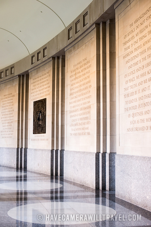 The Memorial Hallway at the Woodrow Wilson Presidential Memorial Exhibit and Learning Center in the Ronald Reagan Building in downtown Washington DC. The Memorial commemorates the 28th American president.