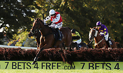 Sofia's Rock ridden by Harry Skelton jumps the last on their way to victory in the Burger Shop Worcester Maiden Hurdle at Worcester Racecourse, Worcester.