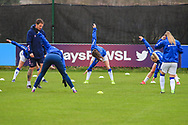 Everton players warm up during the FA Women's Super League match between Everton Women and Bristol City Women at the Select Security Stadium, Halton, United Kingdom on 17 January 2021.