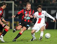Fotball<br /> Frankrike<br /> Foto: Dppi/Digitalsport<br /> NORWAY ONLY<br /> <br /> FOOTBALL - FRENCH CHAMPIONSHIP 2007/2008 - L1 - OGC NICE v PARIS SG - 25/11/2007 - JEREMY CLEMENT (PSG) / LILIAN LASLANDES (NICE)