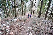 Hiking on the Juliana Trail near Most na Soči, descending above the confluence of the Soča and Idrija rivers, Slovenia © Rudolf Abraham