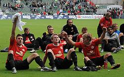 18.09.2010, Weserstadion, Bremen, GER, 1. FBL, Werder Bremen vs 1. FSV Mainz 05, im Bild Jubel bei den Mainzern nach dem Sieg   EXPA Pictures © 2010, PhotoCredit: EXPA/ nph/  Frisch+++++ ATTENTION - OUT OF GER +++++ / SPORTIDA PHOTO AGENCY