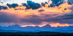 Grand Teton Sunset Panorama.  High in the Bridger Teton National Forest provides a more expansive view than the more familiar landscapes from the valley bottom.