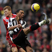 Photo: Paul Thomas.<br /> Liverpool v Sheffield United. The Barclays Premiership. 24/02/2007.<br /> <br /> Colin Kazim-Richards (R) of Sheff Utd clears from John Aren Riise.