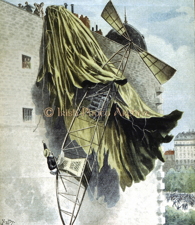 Alberto Santos-Dumont (1873-1932) Brazilian aeronaut: dirigibles and aeroplanes. Santos-Dumont coming to grief in his airship on roof of house in Quai de Passy, Paris, on an unsuccessful attempt at the Deutsch Prize. From  'Le Petit Journal', Paris, 25 Au