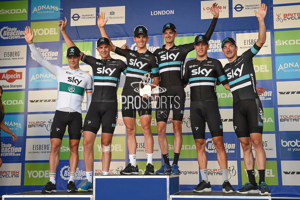Overall winning team - Team Sky - at the Tour of Britain 2016 stage 8 , London, United Kingdom on 11 September 2016. Photo by Martin Cole.