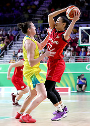 Australia's Kelsey Griffin (left) and England's Chantelle Pressley (right) in the Women's Gold Medal Game at the Gold Coast Convention and Exhibition Centre during day ten of the 2018 Commonwealth Games in the Gold Coast, Australia.