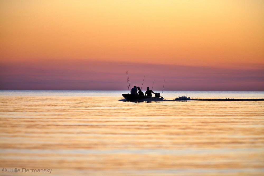 People fishing on Lake Pontchartrain