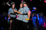 """During a  burlesque party at famous  club of Kreuzberg, SO36.<br /> This three girls are that no have twenty years, are dressed like DDR Vopos. Is """"typically berliner"""" to do irony about this theme."""