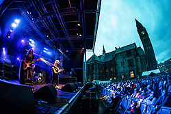 © Licensed to London News Pictures. 18/08/2018. Rochdale , UK. Liverpool band Cast perform live at the Rochdale Feel Good Festival , in front of Rochdale Town Hall . Photo credit: Joel Goodman/LNP