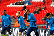Tottenham Hotspur players warm up before kick off during the Premier League match between Tottenham Hotspur and West Bromwich Albion at Wembley Stadium, London, England on 25 November 2017. Photo by Andy Walter.
