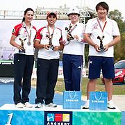 Natalia NASARIDZE (TUR) (L), Yag˝z YILMAZ (TUR) (2ndL) and OH Jin-Hyek (KOR) (R), JUNG Dasomi (KOR) (2ndR) competes in Archery World Cup Final in Istanbul, Turkey, Sunday, September 25, 2011. (AP Photo/TURKPIX)