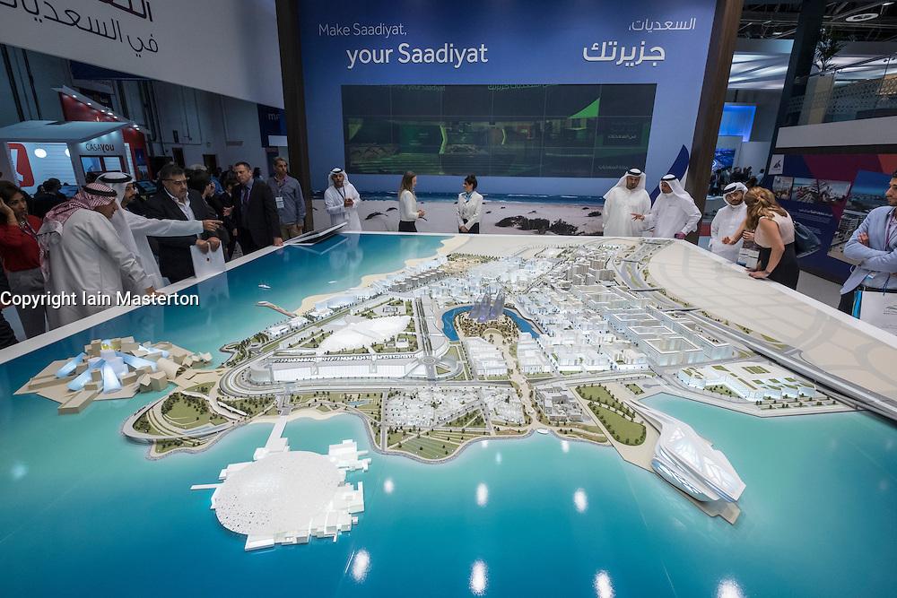 Model of new museums  to be built on Saadiyat Island in Abu Dhabi United Arab Emirates