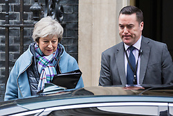 London, UK. 29th January, 2019. Prime Minister Theresa May leaves 10 Downing Street following a Cabinet meeting on the day of votes in the House of Commons on amendments to her final Brexit withdrawal agreement which could determine the content of the next stage of negotiations with the European Union.