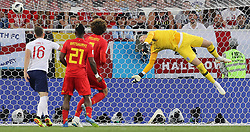 Belgium's Adnan Januzaj (not pictured) scores his side's first goal of the game during the FIFA World Cup Group G match at Kaliningrad Stadium.