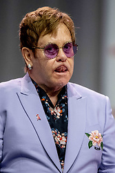 Sir Elton John attends a plenary session to launch a new coalition of global Aids funders the MenStar Coalition during the Aids 2018 summit in Amsterdam, the Netherlands, Tuesday July 24, 2018. Photo by Robin Utrecht/ABACAPRESS.COM