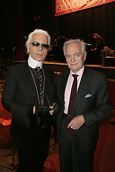 German designer Karl Lagerfeld and French writer Philippe Labro attend a special show for genius Wolfgang Amadeus Mozart's 250th birtday recorded by Radio Classique at the Olympia theatre in Paris, France on January 27, 2006. Photo by Laurent Zabulon/ABACAPRESS.COM
