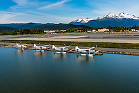 Taking off in a float plane from Juneau International Airport, Juneau, Alaska USA.