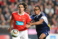 20100125: LISBON, PORTUGAL - 7th Charity Football Match against Poverty: SL Benfica All Stars vs Zidane & Kaka Friends. All the money rose from ticket sales and donations will go to the victims of Haiti Earthquake. In picture: Nuno Gomes and Edgar Davids. PHOTO: Alexandre Pona/CITYFILES