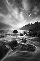 Beautiful clouds and crashing waves along Ruby Beach, Olympic National Park, WA, USA