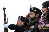 Participants salute the flag during the annual Avenue of Flags Memorial Day Program at Garden of Memories Memorial Park in Salinas.