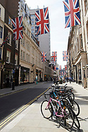 British Flags bunting at London Streets the day before the Royal Wedding of Prince Harry and Meghan Markle on May 18, 2018 in London, , United Kingdom
