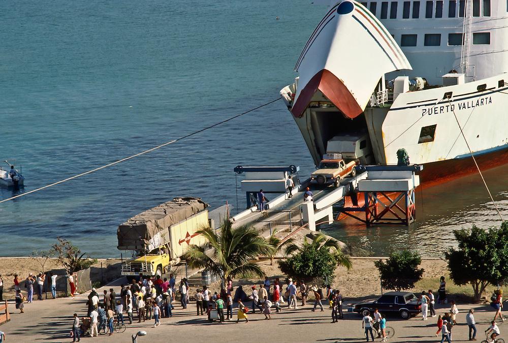 A cruise ship coming into port in Baja California.